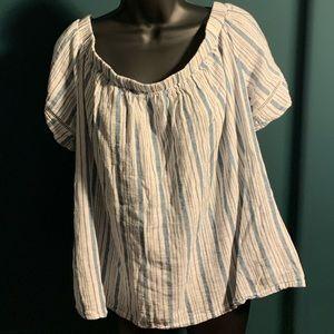 NWOT Ava & Viv white/blue striped blouse (6/$14)
